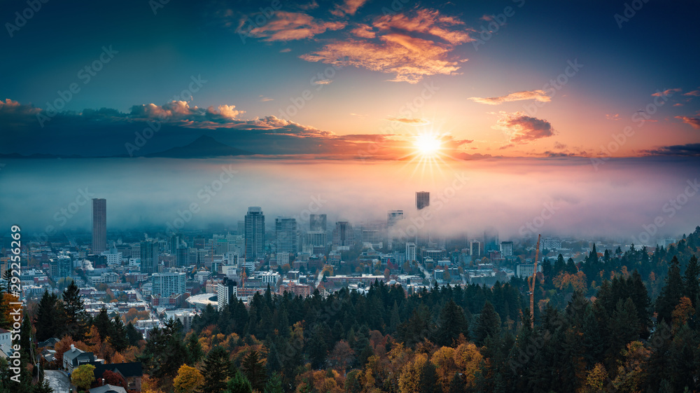 Fototapety, obrazy: Portland downtown with rolling fog and autumn foliage in shining sunrise and colorful clouds