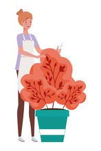 Woman Taking Care Autumn Plant...