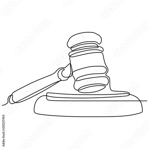 Obraz na płótnie minimalist design of judge hammer continuous one line drawing vector object illu