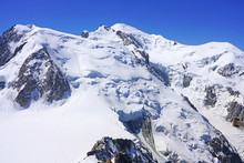 View Of The Vallee Blanche Covered With Snow In The Massif Du Mont Blanc Over Chamonix, France