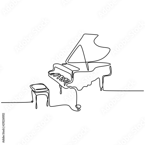 Canvas one line drawing piano music instrument vector illustration minimalist design