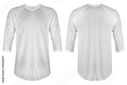 Leinwand Poster  Set of blank t shirt raglan 3/4 sleeve bundle in front and back view isolated on white background