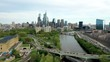 Drone Aerial pan left of Philadelphia city skyline showing Comcast Technology Center and the Art Museum