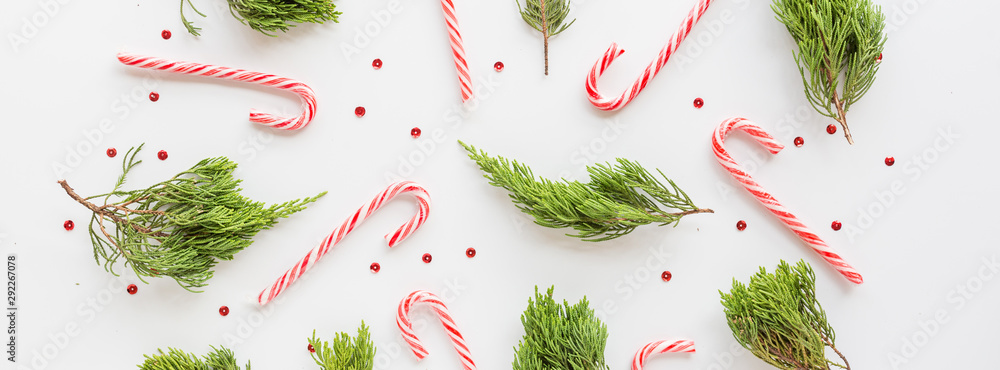 Fototapeta Christmas fir branches and lollipop canes on white. new year concept. Horizontal banner for web design. Greeting card, xmas celebration 2020. Flat lay, top view, copy space, mockup, template
