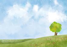丘 大地 緑 景色 青空 空 自然 背景 水彩 手描き 青空 空 大木 樹木 木