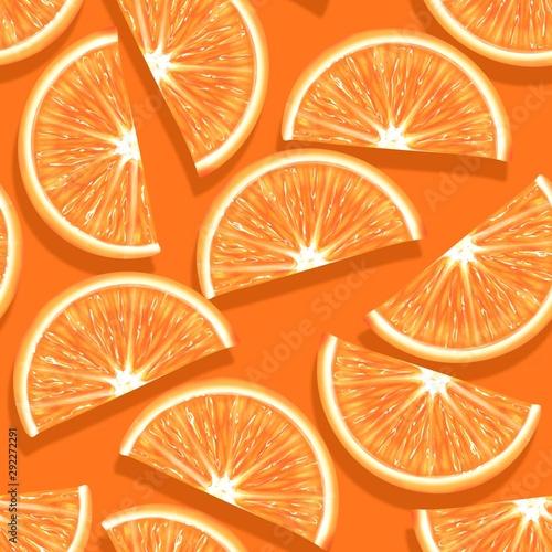 Sliced orange seamless pattern. Vibrant exotic fruits background - 292272291