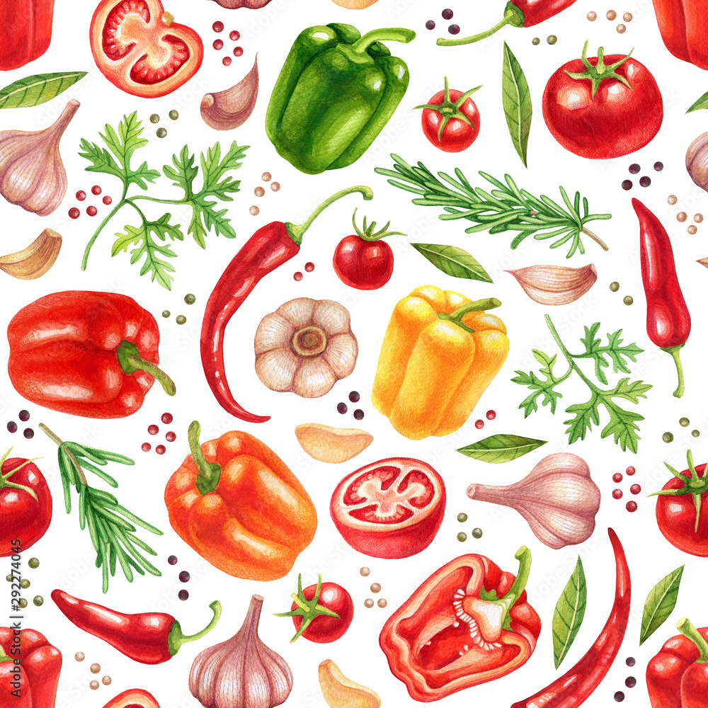Watercolor vegetables seamless pattern with garlic, tomatoes, herbs, chili and bell peppers