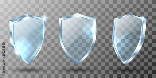 Fotografie, Obraz Glass shield realistic vector illustrations