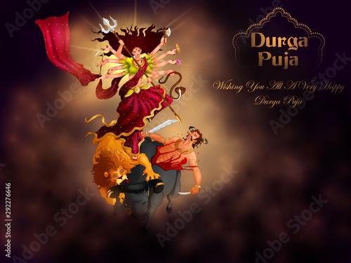Fotografie, Obraz  vector illustration of Happy Durga Puja festival background for India holiday Du