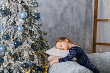 Christmas Morning. Tired Littl...