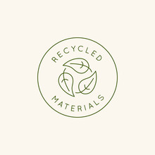 Vector Logo Design Template And Emblem In Simple Line Style - Recycled Materials