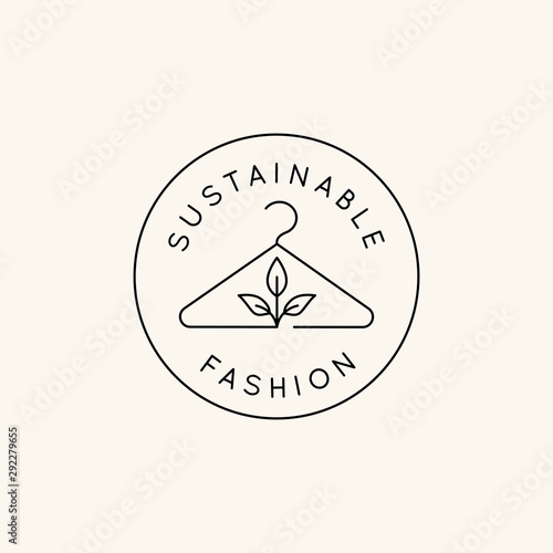 Obraz na płótnie Vector logo design template and emblem in simple line style - sustainable fashio