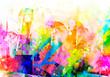 Leinwandbild Motiv abstract multicolored splashes with geometrical figures and pattern, digital illustration