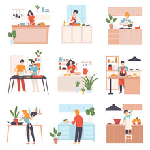 Set Of Images Of People In The Kitchen. Vector Illustration.