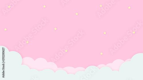Kawaii streszczenie kolorowe tło zachmurzone niebo. Delikatna pastelowa grafika komiksowa. Koncepcja dla dzieci i przedszkoli lub prezentacji