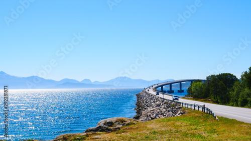 Foto auf AluDibond Blau Road bridge Bolsoya, coast landscape Norway