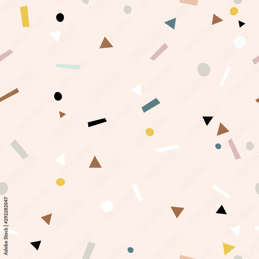 Fototapeta Abstract seamless pattern. Simple graphic design. Triangles, rectangles and circles.