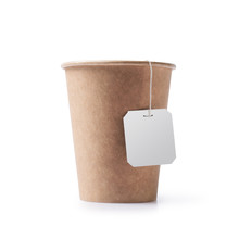 Disposable Take-out Kraft Paper Cup With Tea Bag And Mock-up Tag