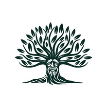 Green Man Tree Illustration Ve...