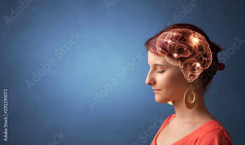 Portrait with lighting brain and brainstorming concept Canvas Print