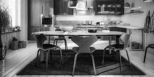 Modern Kitchen Area with Dining Room Integration (panoramic B&W) - 3d visualization - 292291081