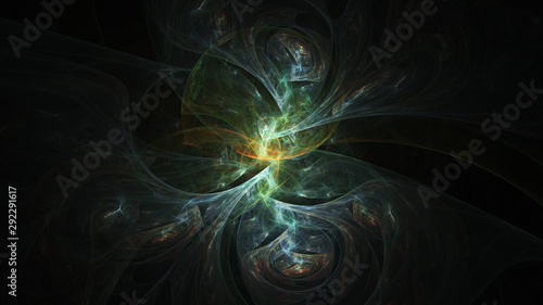 Photo  Abstract transparent green and golden crystal shapes