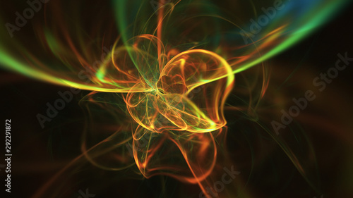 Photo  Abstract green and orange fiery shapes