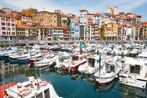 Colorful harbor with boats and buildings Bermeo. Euskadi, Spain