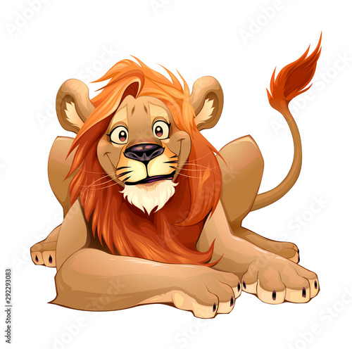 Door stickers kids room Happy Lion smiling