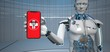Leinwandbild Motiv Humanoid Robot Medical Assistant Smarthone