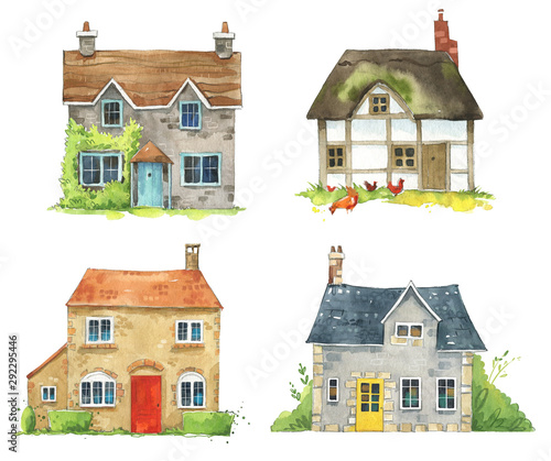 Fotografía set of watercolor British cottages, English traditional architecture
