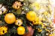 canvas print picture - geschmückt Weihnachtsbaum Kugeln Lichtflecken