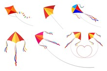 Set Of Kites On A White Background. Children's Toys, Summer Fun, Outdoor Games. Vector Illustration