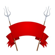Two Fantastic Tridents With A Red Banner On A White Background. Vector Illustration Of A Cold Fairy Weapon With A Red Ribbon