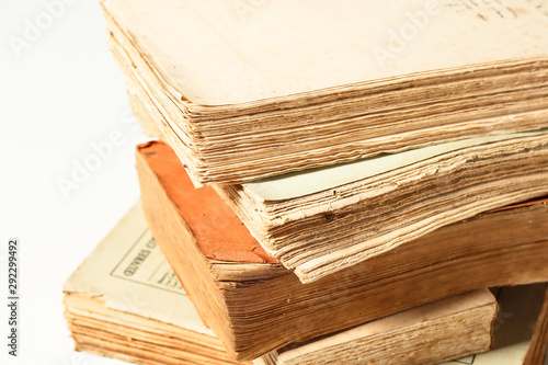 Printed kitchen splashbacks Newspapers Old, vintage, antiquarian books pile isolated on white background, close-up view