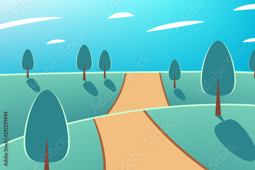 Printed kitchen splashbacks Green coral Nature at noon. Beautiful landscape with trees and road. Outdoor vector illustration design. Beautiful landscape.