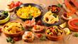 Leinwanddruck Bild - selection of spanish tapas with olive, patatas bravas,calamari,mussel and paella