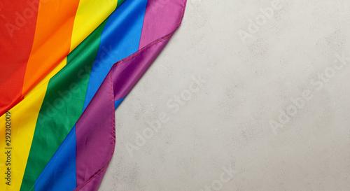 Photo LGBT Pride Rainbow Flag. Grey background