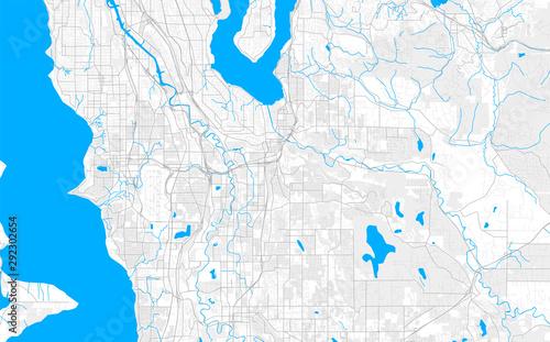 Photo  Rich detailed vector map of Renton, Washington, USA
