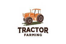Tractor Graphic With Grass Illustration Farm Agriculture Logo Design