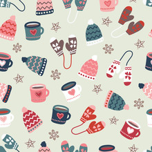 Winter Time Warm Clothes Cookies And Mugs Seamless Vector Pattern. Hand Drawn Doodle Elements Warm Gloves, Hats, Mugs Hot Drink. Christmas Holiday Background Illustration Scandinavian Flat Style