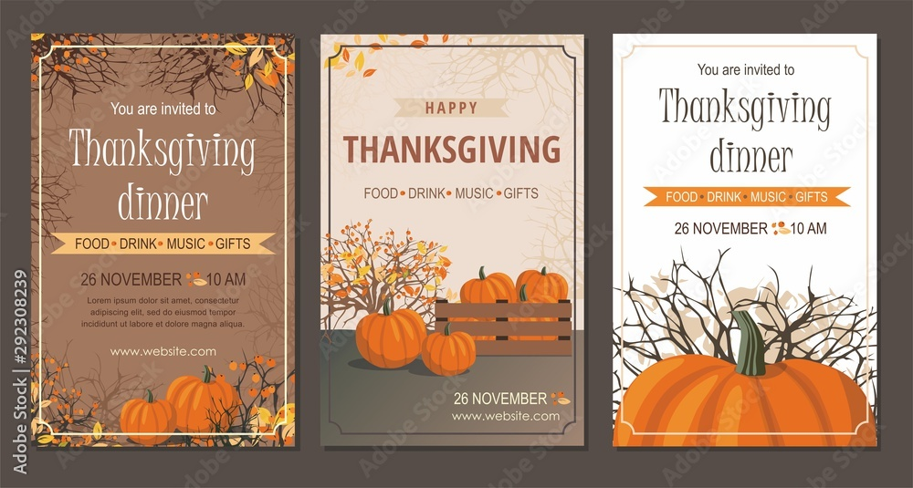Fototapeta Set Thanksgiving greeting cards and invitations with pumpkin.
