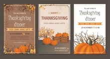Set Thanksgiving Greeting Cards And Invitations With Pumpkin.