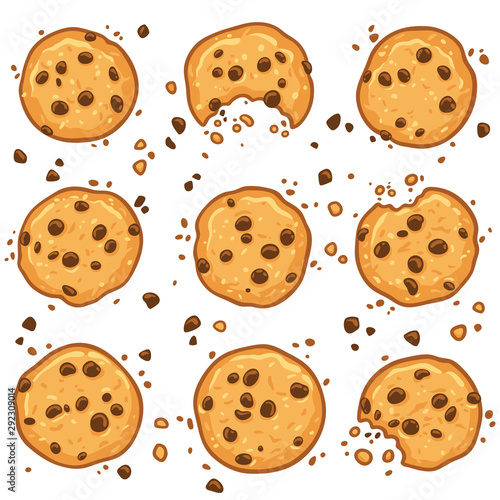 Photo Cookies with chocolate chips set. Vector illustration