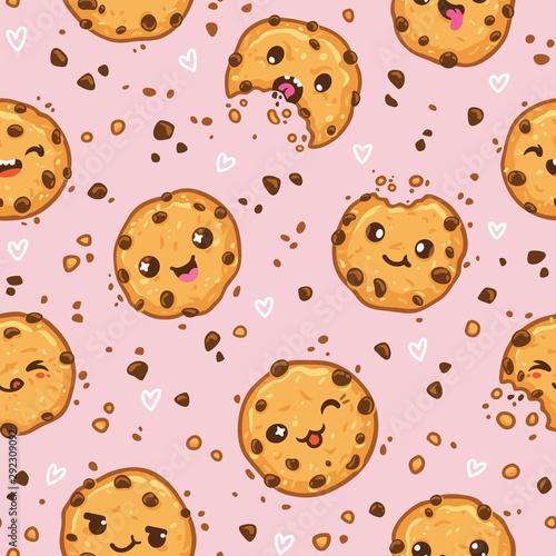 Cookies kawaii characters seamless pattern. Vector illustration Canvas Print