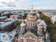 Aerial photo Church of the assumption, the gilded dome, Orthodox Church, historic city centre, Vasileostrovskiy island, St. Petersburg, Russia.