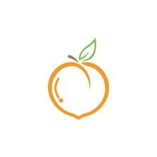 Set Of Peach Fruit Logo Vector Icon Concept Illustration Design