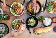 canvas print picture - Catering Buffet Top view asiatisches Essen