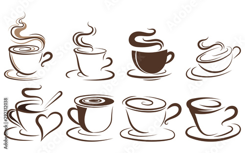 Fototapeta Set of cups of coffee. Collection of stylized coffee cups. Vector illustration of hot drinks. Logos for coffee shops. obraz