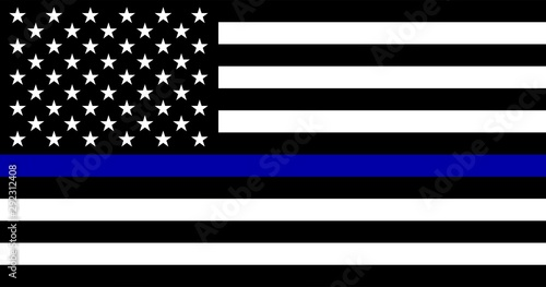American flag with police support symbol, Thin Blue Line Canvas Print